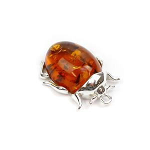 Baltic Cognac Amber Beetle Pendant, Approx. 18x22mm