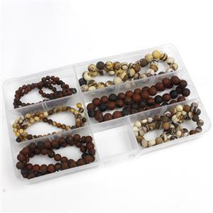 660cts Matt Finish Brown Obsidian & Pink Zebra Jasper Plain Round 4 to 8mm Strands in Box 38cm