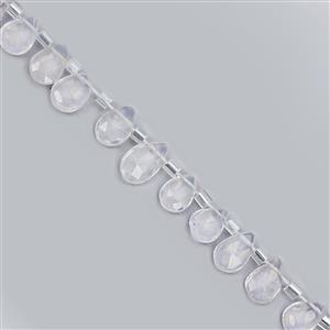 27cts Lavender Quartz Top Side Drill Faceted Pear Approx 5x3 to 9x6mm, 24cm Strand with Spacers
