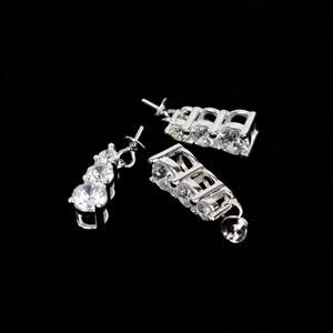 925 Sterling Silver Triple Cubic Zirconia Bail With Peg (3pcs)