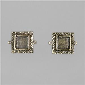 ICE Resin® Antique Bronze Milan Small Square Bezels with Closed Backs Approx ID 14mm
