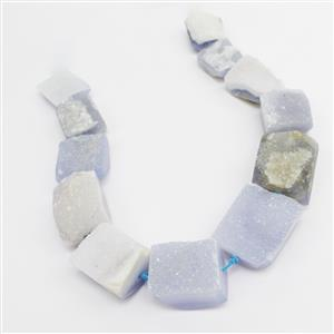 1150cts Freedom Blue Chalcedony Graduated Druzy Beads Approx 20x25mm-25x30mm, 38cm