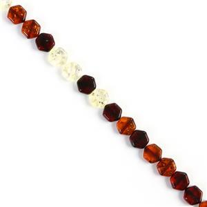 Baltic Multi Colour Amber Rounded Hexagon Bead Strand, Approx. 10mm 20cm Strand (Cognac, Cherry, Lemon)
