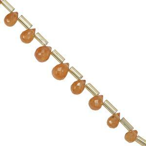 16cts Spessartite Garnet Faceted Drops Approx 4x2.70 to 7.2x5.2mm 20cm Strand With Spacers