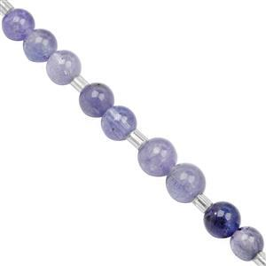 35cts Tanzanite Smooth Round Approx 4 to 6mm, 20cm Strand with Spacers