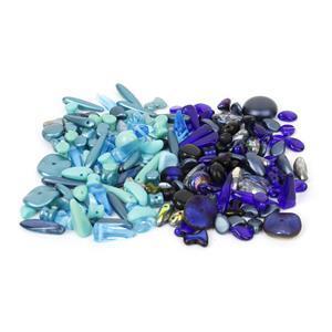 Beads! Inc; Preciosa Ornela Trade Mark Bead Mix, Turquoise & Metallic Dark Blue.