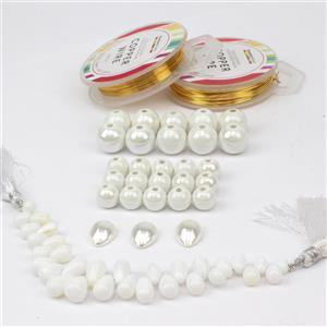 Pure: 2 sizes of white ceramic beads, shell pearl cabs x3, shell pearl cabs x3 & wires