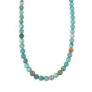 68ct Tibetan Turquoise Sterling Silver Graduated Bead Necklace