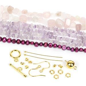 Gold Pink Kit; Pearl Nuggets, Pink Amethyst, Quartz & Findings Pack