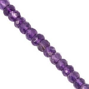 42cts Amethyst Graduated Faceted Rondelle Approx 2.5x2 to 5x3mm, 41cm Strand