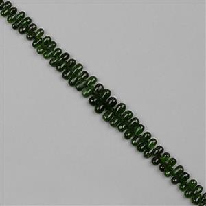 90cts Chrome Diopside Graduated Plain Drops Approx 3x2 to 9x5mm, 18cm Strand.