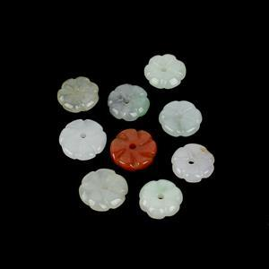 Type A Multi-colour Jadeite Carved Flowers Approx 10mm (10 Pack)