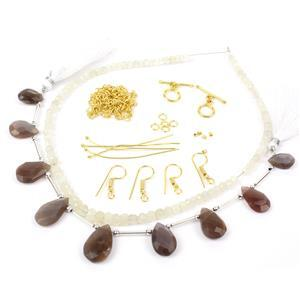 Hot Chocolate; Chocolate Moonstone Pears, White Moonstone Rondelles with Gold Plated Findings