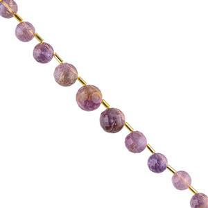 95cts Amethyst & Ametrine Graduated Faceted Top Drilled Rounds Approx 7 to 11mm, 22cm Strand.