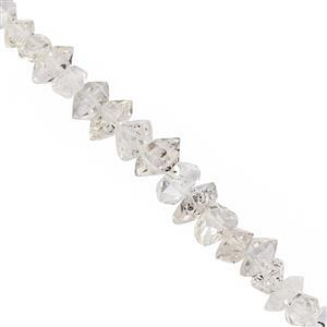 28cts Herkimer Quartz Faceted Nuggets Approx 3x2 to 10x4mm, 20cm Strand