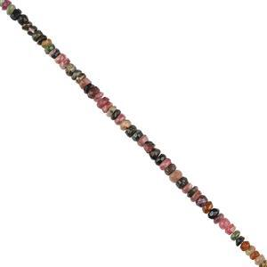 50cts Multi Tourmaline Graduated Faceted Rondelles Approx 3x1 to 5x3mm, 30cm Strand.