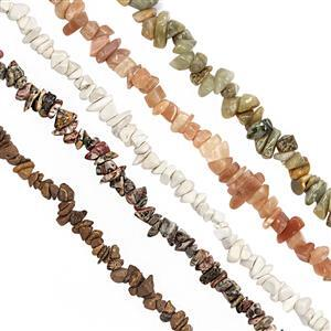 1100cts Multi Gemstone Bead Nugget Approx 4x2.5 to 11x6mm, 80cm Strand (Set of 5)