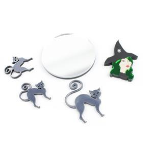 Emerald Witch Acrylic Kit: Witch, Broomsticks & Handbag Mirror (4pcs)