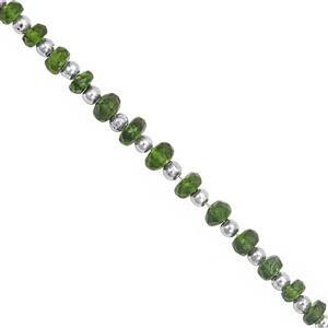 28cts Chrome Diopside Graduated Faceted Bead Approx 3x1.5 to 5.5x3.5mm, 40cm Strand with Spacers