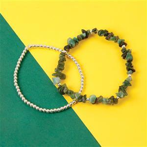 925 Sterling Silver Bead Approx 3mm & Emerald Rough Nuggets Strand Approx 9inch with Elastics (Pack of 95pcs)
