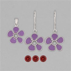 925 Sterling Silver Neon Purple Enamelled Colour Pendant & Earrings Mount Kit Inc. 1.75cts Rajasthan Garnet 5mm Round