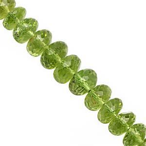 32cts Kashmir Peridot Faceted Roundelle Approx 3.5x1.5 to 7x4mm, 9cm Strand