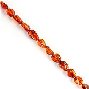 Baltic Cognac Amber Rough Beads Approx 13x16 - 21x13mm, 20cm Strand