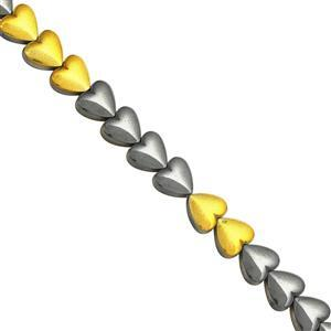 83cts Golden & Black color Coated Hematite Smooth Heart Approx 6mm, 30cm Strand