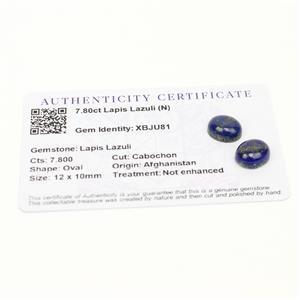 7.8cts Sar-i-Sang Lapis Lazuli 12x10mm Oval  (N)