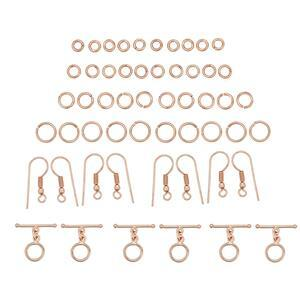 Rose Gold Colour Plated Base Metal Chainmaille Bumper Pack, Inc ID 3, 4, 5 & 7mm Jump Rings, Shepherd Hooks & Toggle Clasps (813pcs)