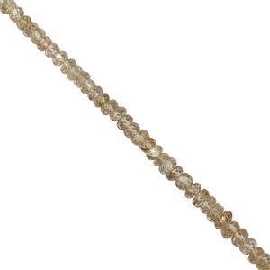 38cts Natural Zircon Graduated Faceted Rondelle Approx 3x1 to 4.5x2.5mm, 20cm Strand