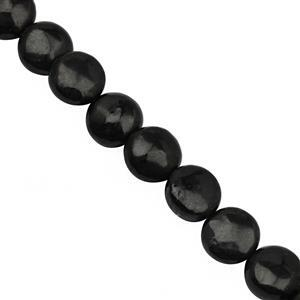 62cts Shungite Smooth Puffy Coin Approx 10mm, 17cm Strand