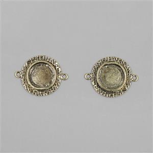 Ice Resin® Antique Bronze Milan Small Round Bezels with Closed Backs Approx ID 15mm