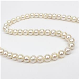 White Freshwater Cultured Near Round Pearls Approx 7-8mm, 38cm Strand
