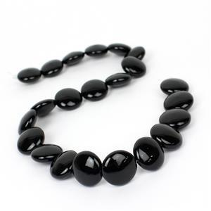 300cts Black Agate Puffy Coins Approx 18mm, 38cm Strand