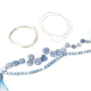 Blue Fire INC 105cts Blue Opal Faceted Drops, Blue Opal Rounds & 6m Sterling Silver Wire