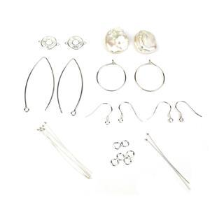 Dazzle; 925 Sterling Silver Cubic Zirconia Round Connectors, Keshi Pearls 2pc, Findings