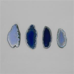 300cs Blue Agate Drilled Slabs 4pcs/Set