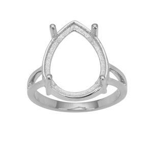 925 Sterling Silver Ring Mount (To fit 16x12mm Pear Gemstones)