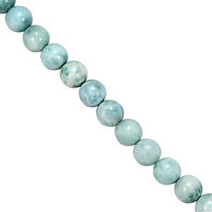 190cts Larimar Smooth Round Approx 8mm, 38cm Strand