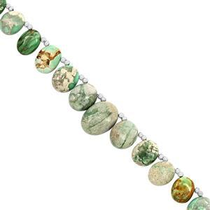68cts Variscite Graduated Smooth Ovals Approx 5x4.50 to 12x16mm, 19cm Starnd With Spacers