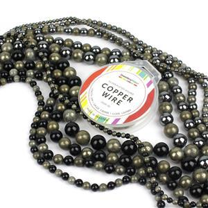 Rock 'n' Rosary; 10x Strand Rounds inc Haematite, Pyrite & Black Onxy, 0.8mm Wire