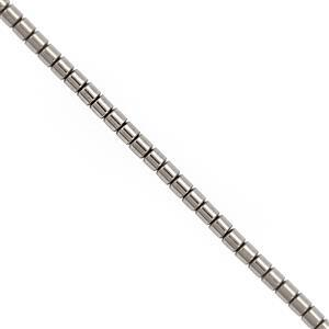 44cts Grey Color Coated Hematite Smooth Tubes Approx 3mm, 30cm Strand