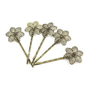 Antique Bronze Base Metal Floral Filigree Bobby Pin Blanks, 20x5mm (5pk)