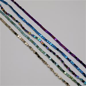 450cts Multi-Colour Haematite Squares Approx 6mm, 38cm Strands (Set of 5)