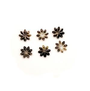 Black Shell Pearl Eight-Petal Flowers Approx 12mm (6pcs)