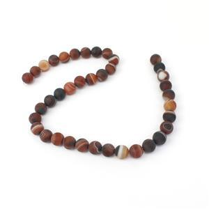 240cts Dyed Multi-Colour Stripe Agate Matte Rounds Approx 10mm, 38cm Strand