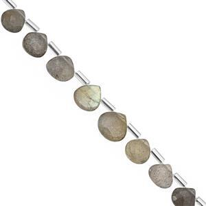 27cts Labradorite Top Side Drill Faceted Heart Approx 5 to 9mm, 20cm Strand with Spacers