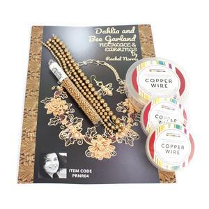 Golden Dahlia and Bee Garland Necklace and Earrings with Booklet by Rachel Norris