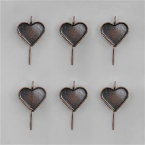 Antique Copper Plated Bezel Earrings Heart - 13x15mm (3pairs/pk)